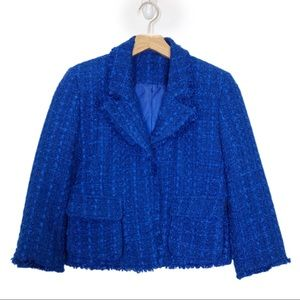 Vintage wool boucle cropped blazer Chanel style